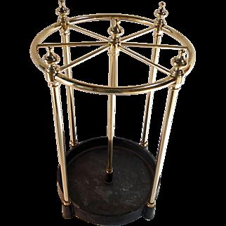 Round English brass umbrella stand