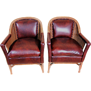 Pair of Heywood Wakefield Leather and Wicker Club Chairs