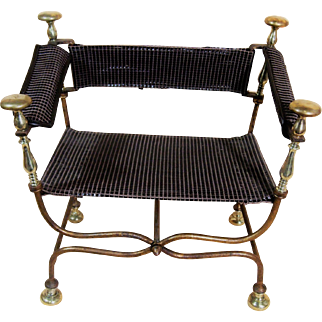 Italian Gilt Iron and Brass Savonarola chair