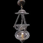 Antique 19th C American Classical Bell Jar Hall Lantern