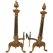 1920's FlameTop Brass Andirons