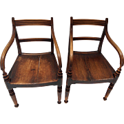 English Regency Country Armchairs-Pair