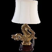 Vintage Venetian Brass Sea Horse Lamp