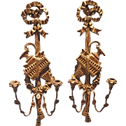 Palladio Italian Giltwood and Metal Wall Sconces-  A Pair