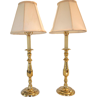 1920's Round Base English Brass Candlestick Lamps- A Pair