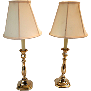 1920's Brass Square Base Lamps, A Pair