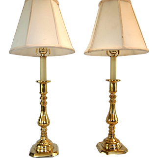 English Brass Candlestick Lamps- A Pair