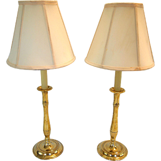 1920's Solid Brass Candlestick Lamps- A Pair