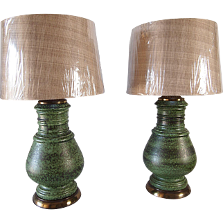 Green Midcentury Drip Glaze Lamps- A Pair
