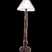 1920's Mahogany Column Floor Lamp