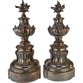 Nickel Plated Cast Iron Andirons- A Pair