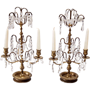 French Bronze and Crystal Two Light Candelabra- A Pair