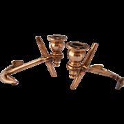 Vintage Brass Anchor Candlesticks- A Pair