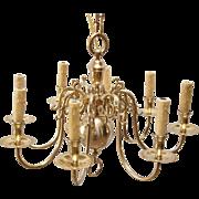 Mid-Century Dutch Solid Brass Chandelier