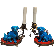 Pair of Chinese Turquoise Glazed Foo Dogs on Ormolu Mounts as Lamps