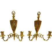 Pair of 1920's Solid Brass Candle Wall Sconces