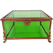 Vintage Beveled Green Glass Jewelry Box