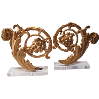 Pair of 19th C Gilt Metal Architectural Fragments