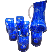 Cobalt Blue Bohemian Cut to Clear Water Pitcher Set