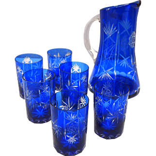 Cobalt Blue Bohemiam Cut to Clear Water Pitcher Set