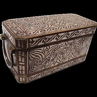 Inlaid Silver Bronze Betel Nut Box