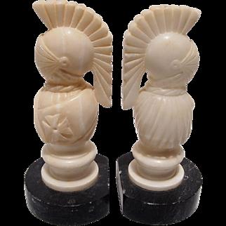 Vintage Alabaster Roman Soldier Bookends