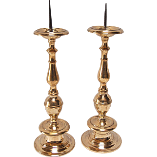 1920's Solid Brass Candlesticks-A Pair