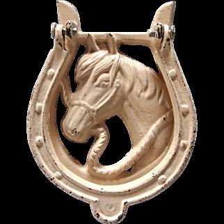 Vintage Painted Cast Iron Horse Head Door Knocker