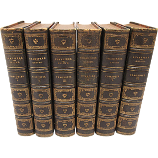 Six Volumes Shakespeare Leather Bound Books