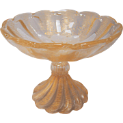 Ercole Barovier Murano Gold Flecks Italian Art Glass Footed Compote