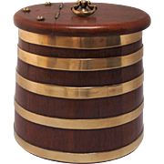 English Brass Banded Oval Oak Barrel
