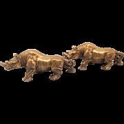 Pair of Brass Rhinoceros Figurines