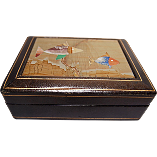 Vintage Italian Leather and Pietra Dura Box