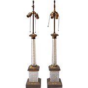 Pair of Vintage French Empire Style Crystal Column Lamps