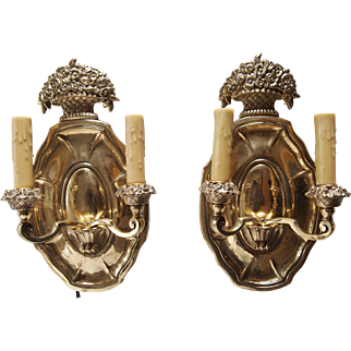 1920's Brass Shield Back Wall Sconces - A Pair