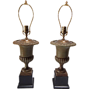 Vintage Moss Green Iron Urn Shaped Lamps- A Pair