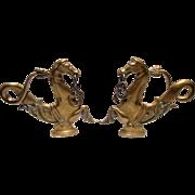 Pair of 19th C Brass Venetian Gondola Cavallis or Sea Horses