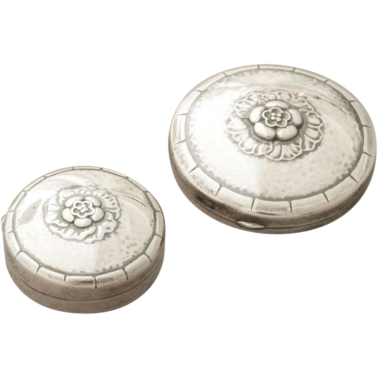 Georg Jensen Sterling Silver Floral Pill Box and Compact Set No. 79