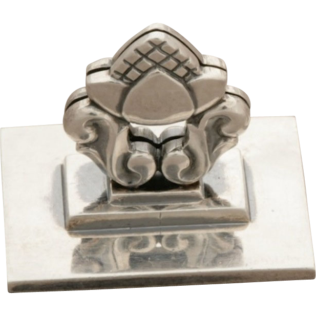 """Georg Jensen Sterling Silver Pair of """"Acorn"""" Pattern Place Card Holders No. 62 by Johan Rohde"""