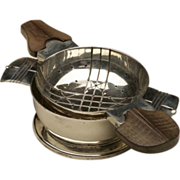 William Spratling 980 Silver Tea Strainer on Stand with Rosewood Handles