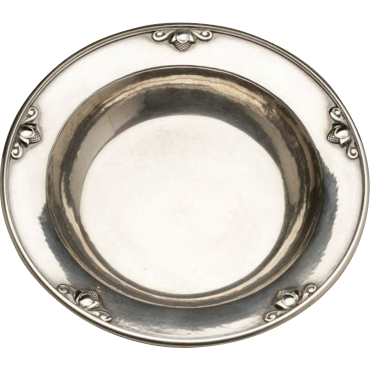 "Georg Jensen Sterling Silver Child's Bowl with ""Acorn"" Motif No. 632F by Johan Rohde"