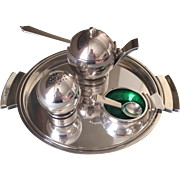 """Georg Jensen Sterling Silver """"Pyramid"""" Mustard Pot, Salt Cellar, Pepper Shaker, and Tray No. 632/632A by Harald Nielsen"""