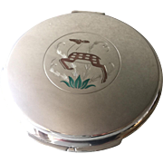 """Georg Jensen Sterling Silver """"Deer and Foliage"""" Mirror Compact No. 313"""