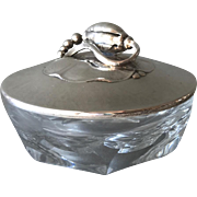 """Georg Jensen """"Blossom"""" Covered Dish No 2A With Baccarat Crystal Base"""