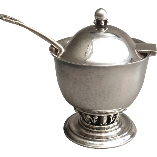 Georg Jensen Sterling Silver Very Rare Condiment Pot in the Louvre design No. 180