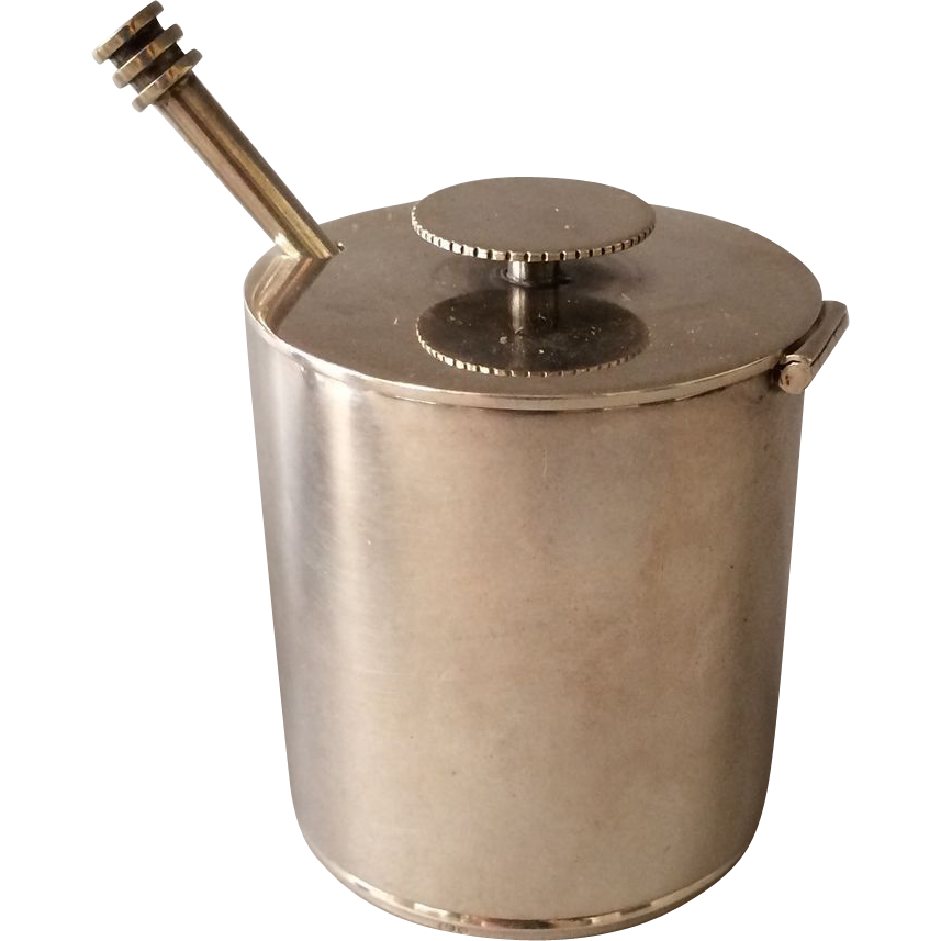 Georg Jensen Sterling Silver Mustard Pot with Spoon No. 801 by Sigvard Bernadotte