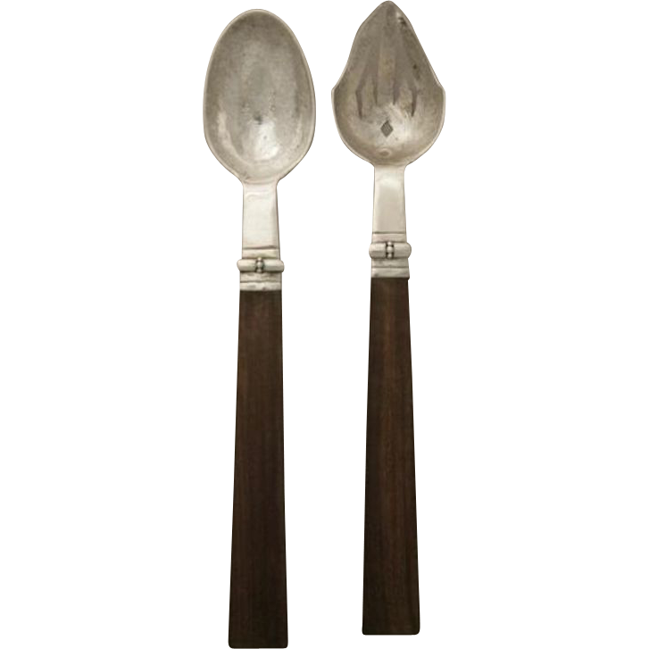 "William Spratling Sterling Silver Pair of Servers 12"" with Rosewood Handles"
