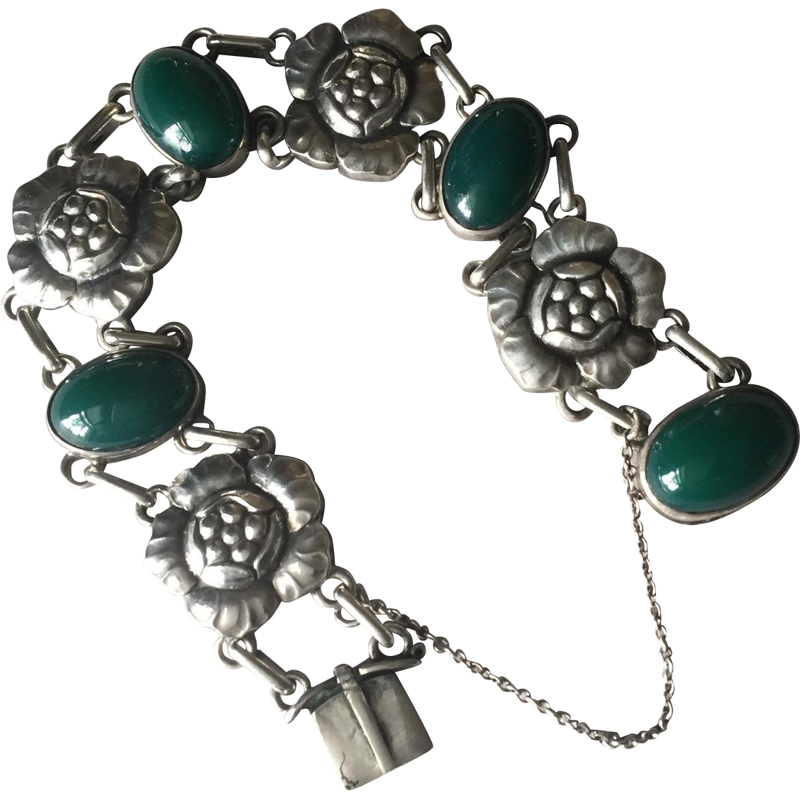 "Georg Jensen 830 Silver ""Blossom"" Bracelet No. 12 with Green Chrysoprase"
