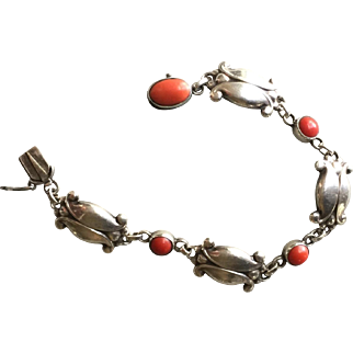 Georg Jensen Sterling Silver Bracelet No. 11 with Coral