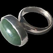 Georg Jensen Sterling Silver Ring No.123B by Nanna Ditzel with Natural Jade Cabochon Stone